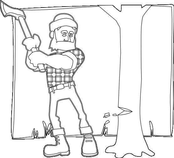 Раскраска мальчик с топором