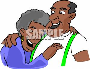 Middle Aged African American Couple Laughing Heartily Clip Art Image