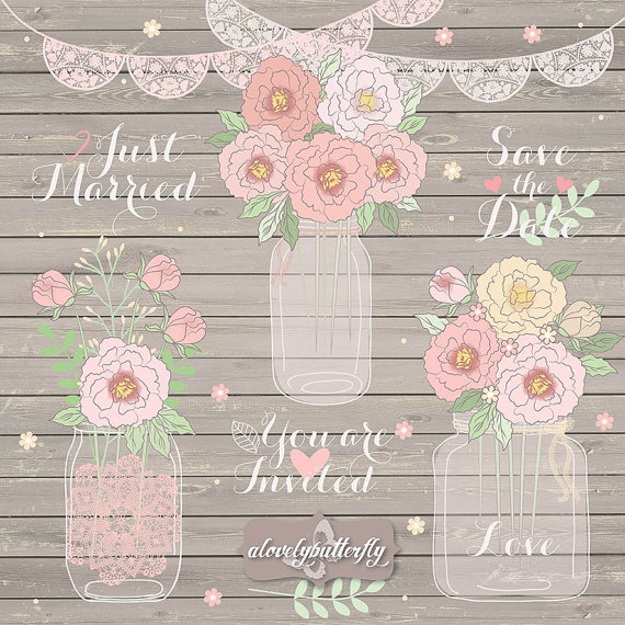 Peonies Clipart Wedding Lace Banner Clipart Jar Clipart Rose Blush