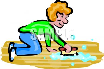 1122 5732 Woman Washing A Floor With A Scrub Brush Clipart Image Jpg
