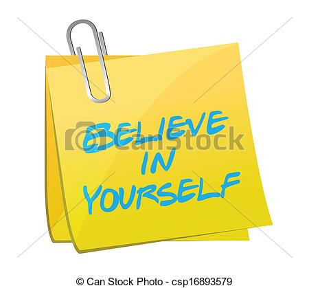 Believe In Yourself Post Illustration Design Over A White Background