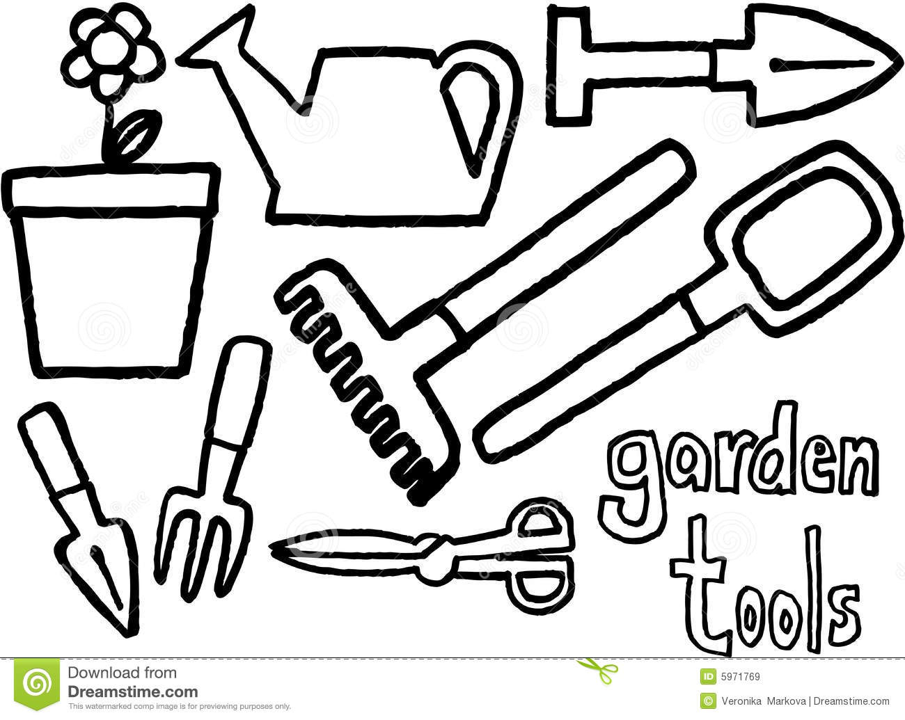 garden tools black and white clipart clipart suggest