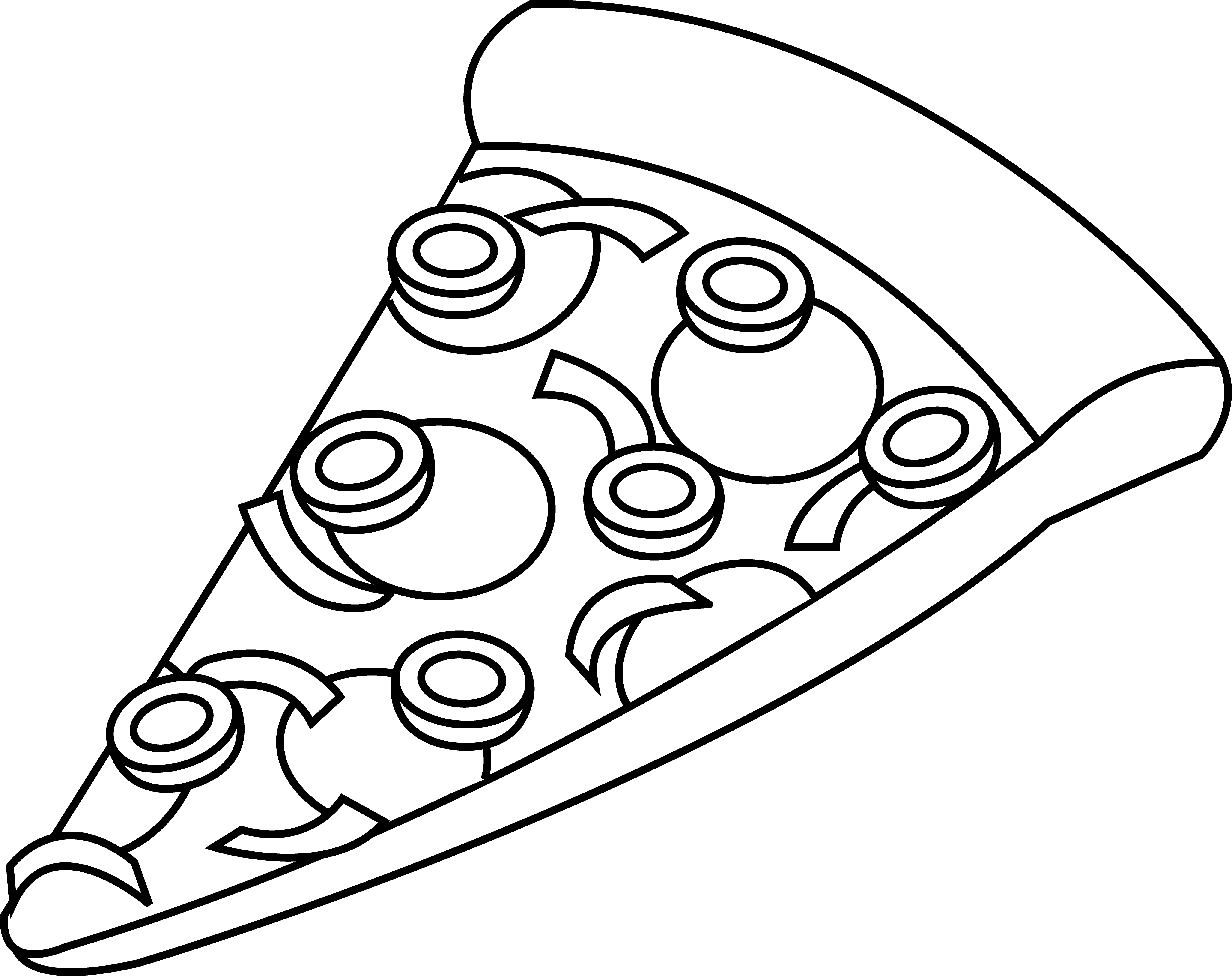 Black And White Pepperoni Pizza Clipart Black And White Pizza Slice