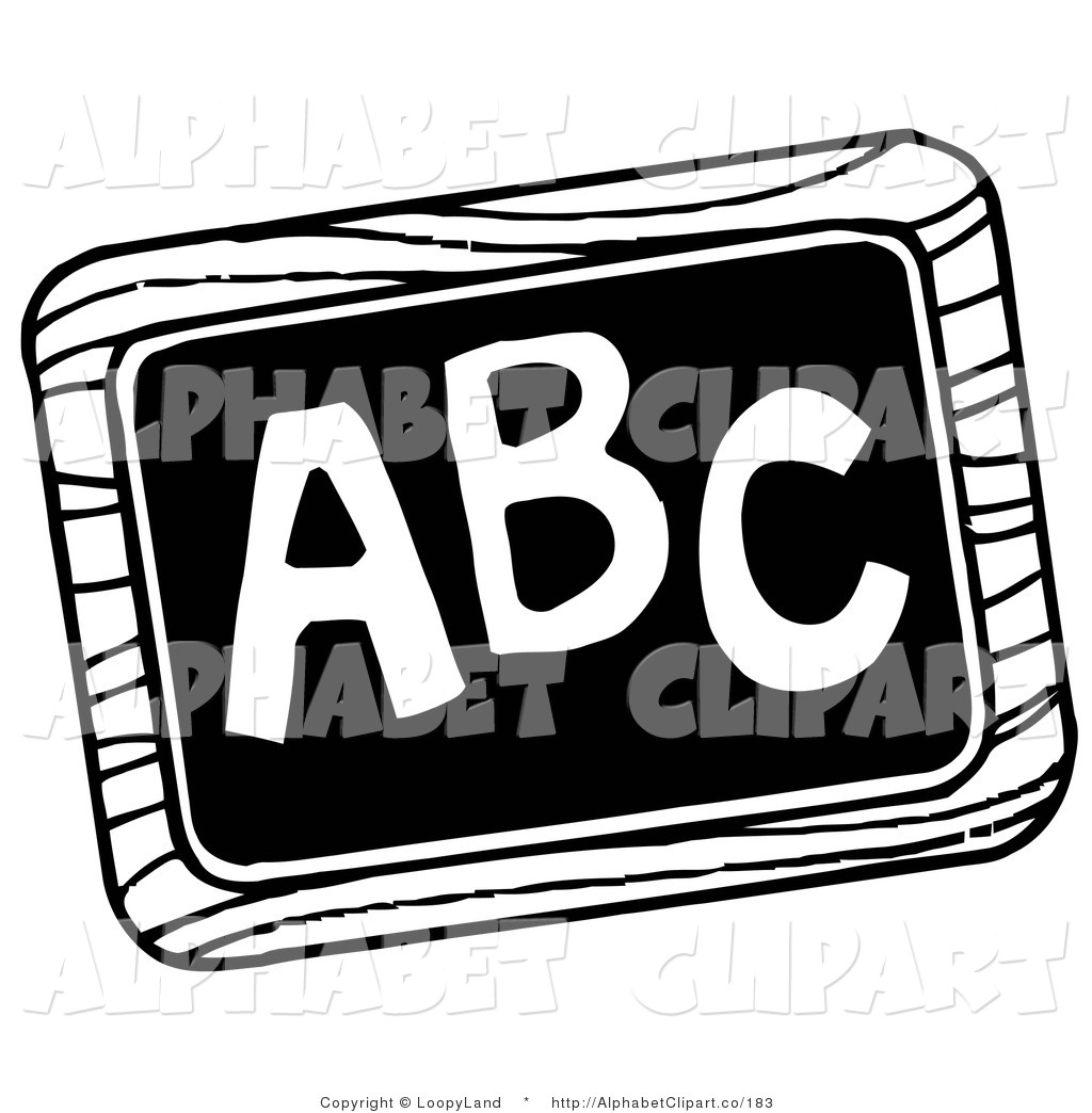 Black And White School Chalk Board With Abc Written On It By Loopyland