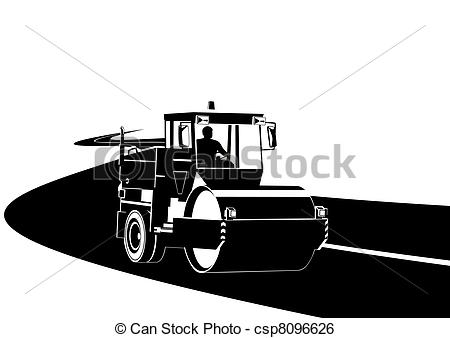 Clip Art Vector Of Road Construction Machinery On The Road Black And