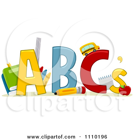Clipart Alphabet School Items With Abcs   Royalty Free Vector