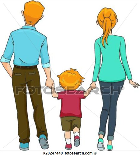 Clipart   Back View Family Walking  Fotosearch   Search Clip Art
