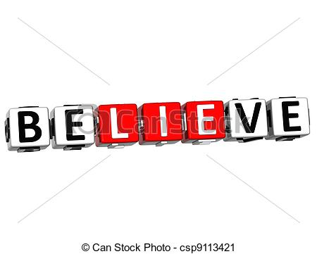 Clipart Of 3d Believe In Yourself Text On White Background Csp9113421