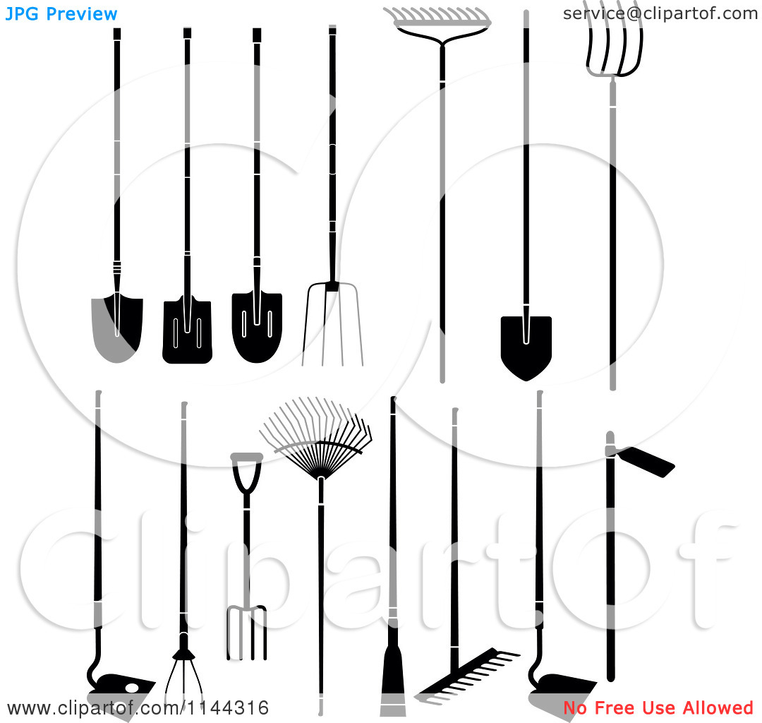 Garden tools black and white clipart clipart suggest for Gardening tools clipart