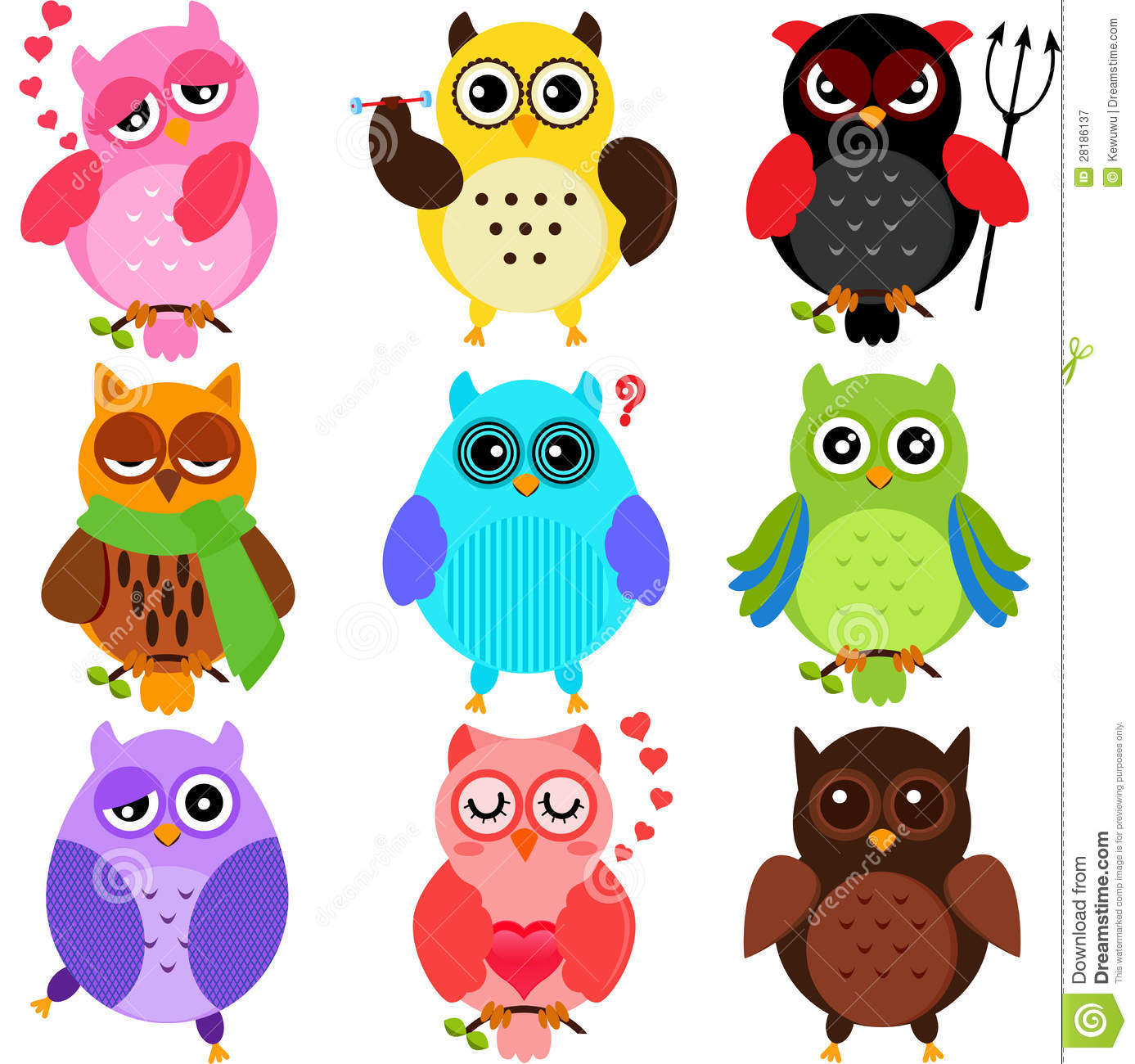 Colorful Owl Clipart Colorful Owls Royalty Free