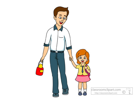Family   Father Walking His Daugther To School   Classroom Clipart