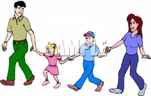 Family Walking And Holding Hands   Royalty Free Clipart Picture
