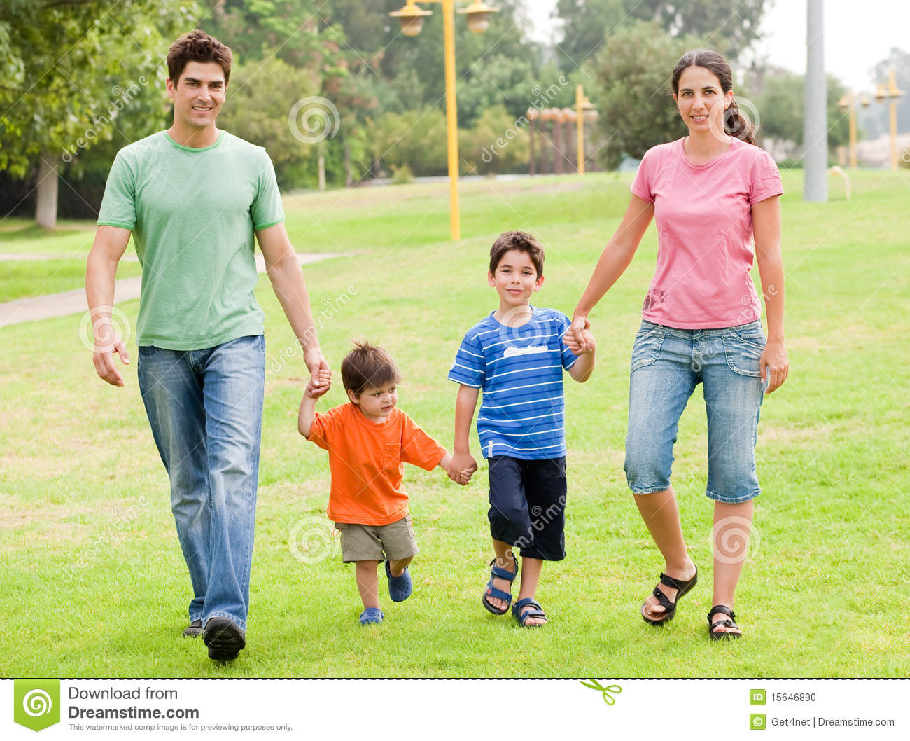 Family Walking Clipart Happy Family Walking In The