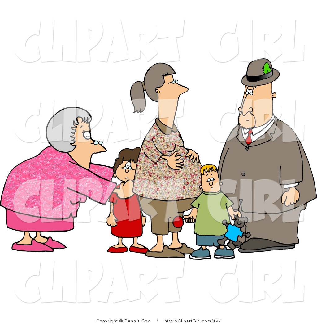 Grandma And Grandpa Standing With Grandchildren And Their Pregnant