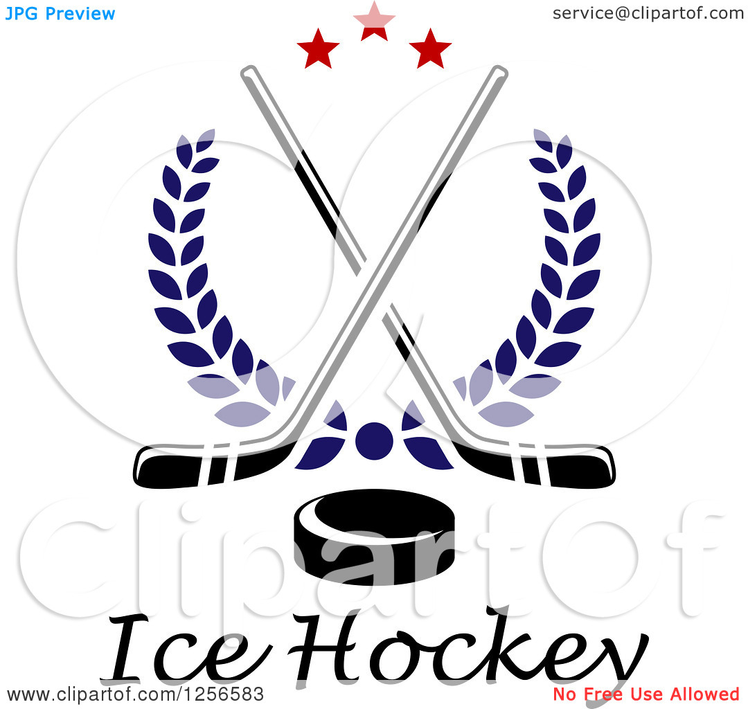 Hockey Puck And Crossed Sticks Icon   Royalty Free Vector Illustration