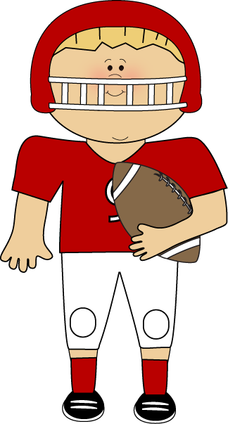 Holding Football Clip Art Image   Boy Wearing A Red Football Uniform