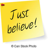 Just Believe   Yellow Sticky Note With Just Believe Message