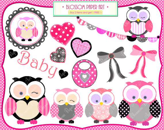 Owls Clipart Hot Pink Black Owls Png   Baby Shower   Cardmaking
