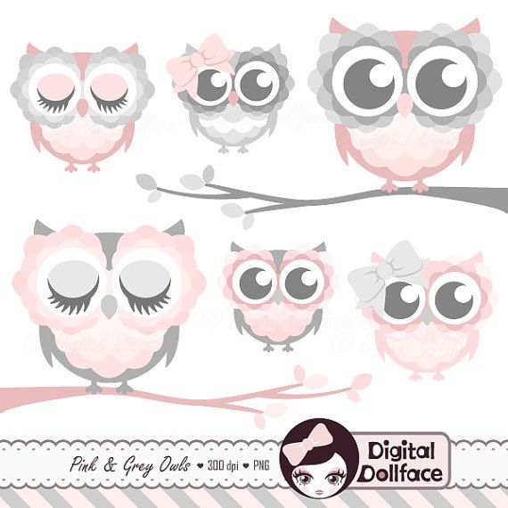 Pink And Grey Owl On Branch Clipart Cute Owl Clip Art Baby Shower