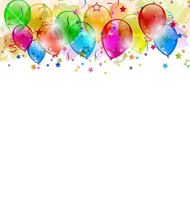 Set Party Balloons Confetti With Space For Text Vector By Smeagorl