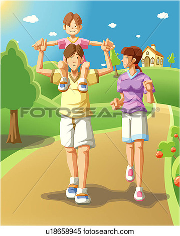 Stock Illustration   On A Family Walk  Fotosearch   Search Clipart