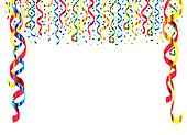 Streamers And Fireworks Celebration Card Streamers Background With