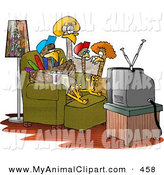 Turkey Family Standing And Sitting Around Watching Television On Movie
