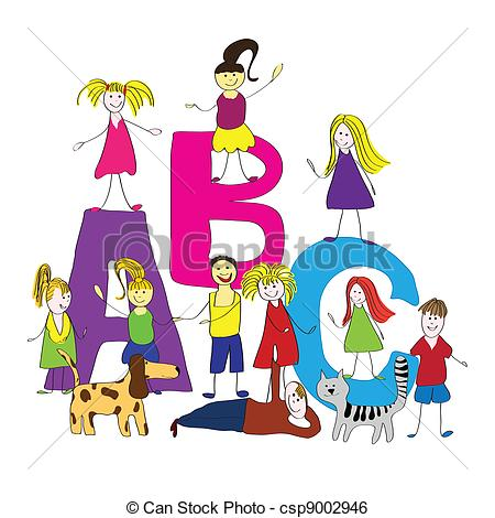Vector   Abc Happy Kids Back To School   Stock Illustration Royalty
