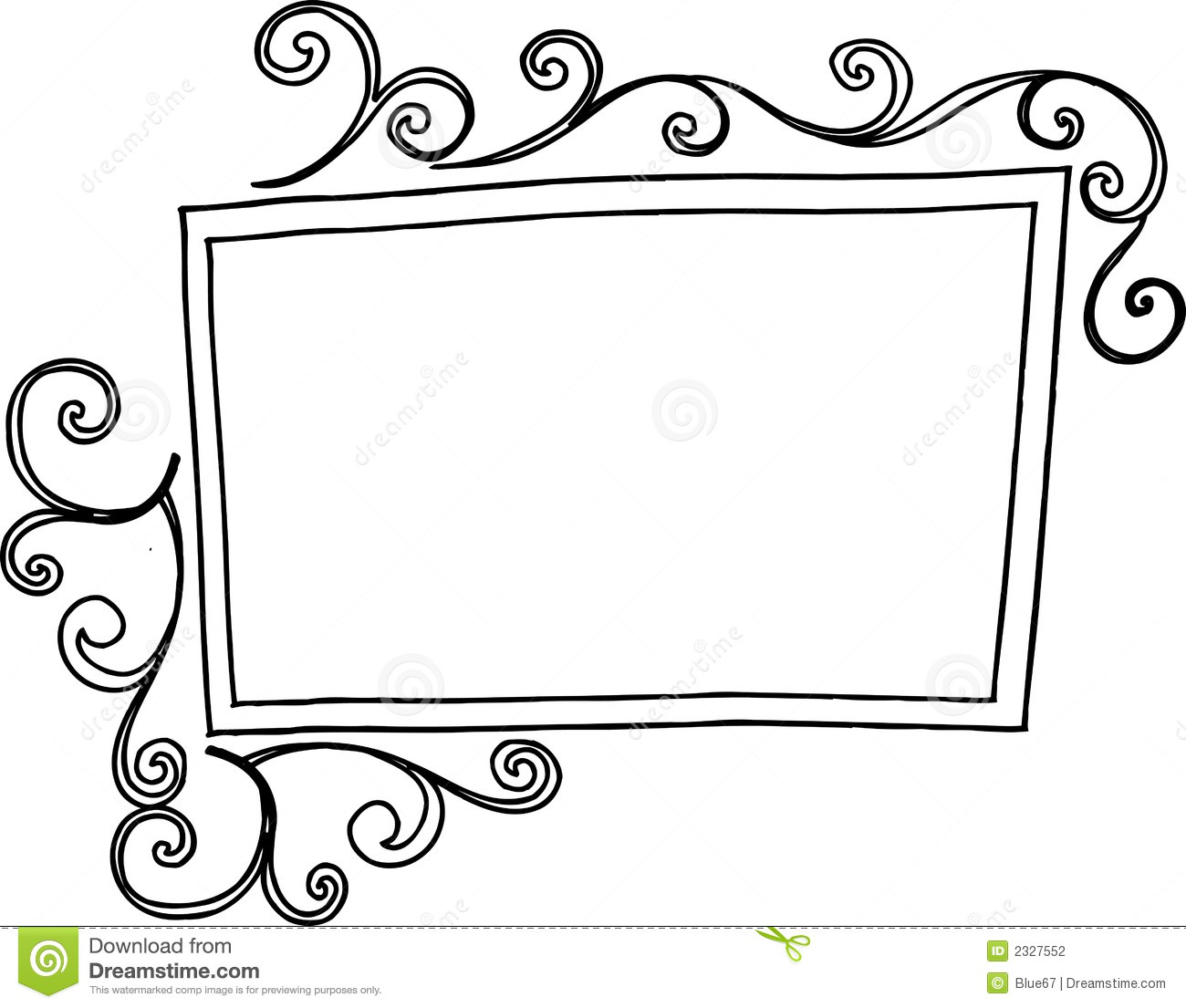 Vintage Rectangle Frame Clipart Rectangular Swirl Frame