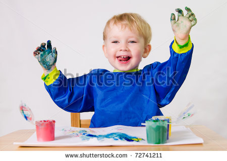 Years Old Baby Boy Paintings Without Paintbrush    Stock Photo