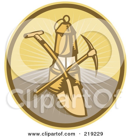 219229 Royalty Free Rf Clipart Illustration Of A Retro Mining Shovel