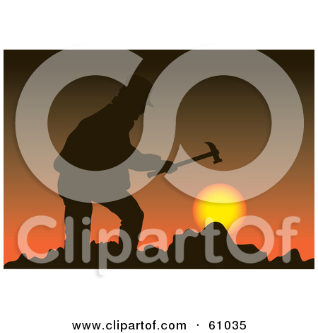 61035 Royalty Free Rf Clipart Illustration Of A Silhouetted Miner