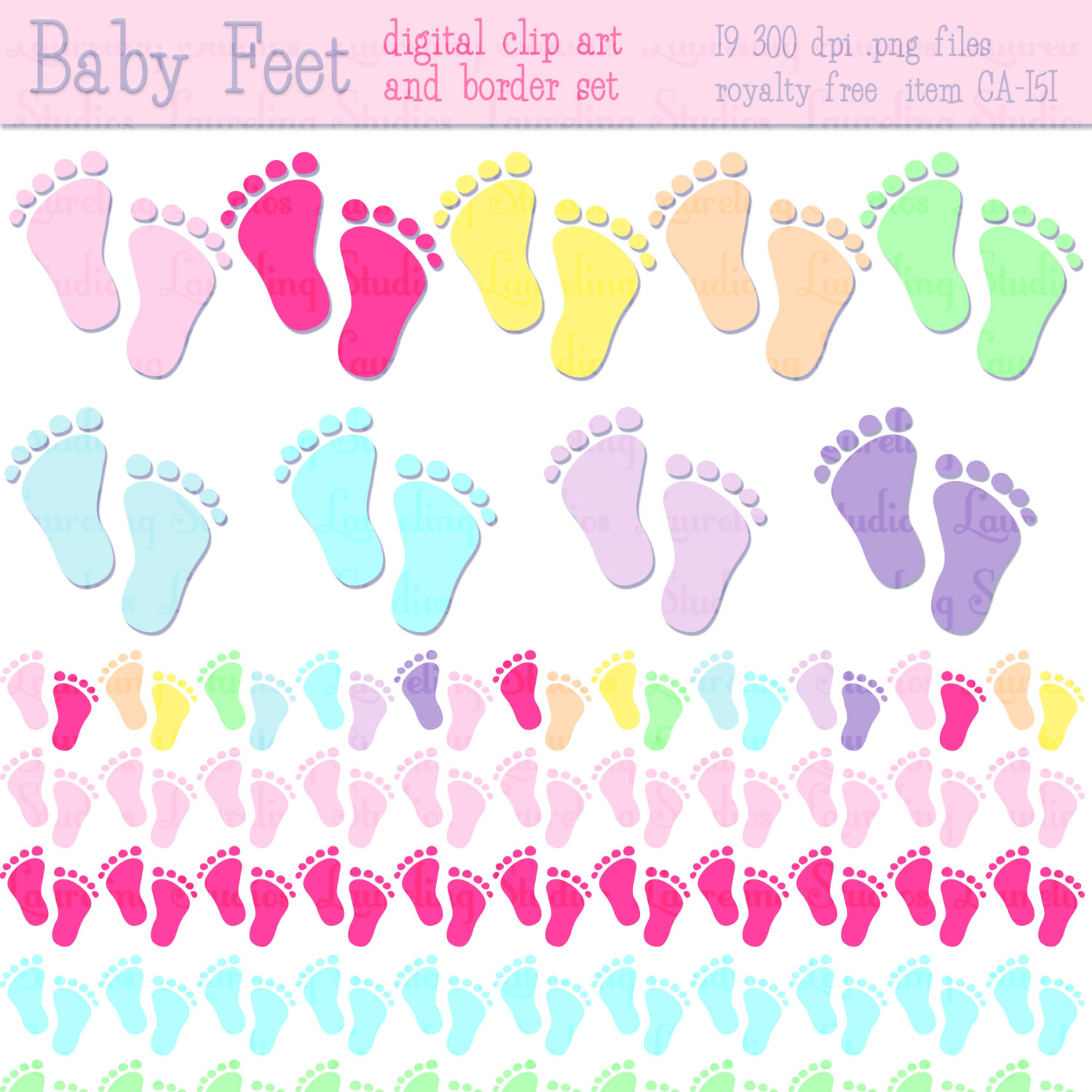 Baby Shower Clip Art   Borders Baby Feet By Laurelingstudios
