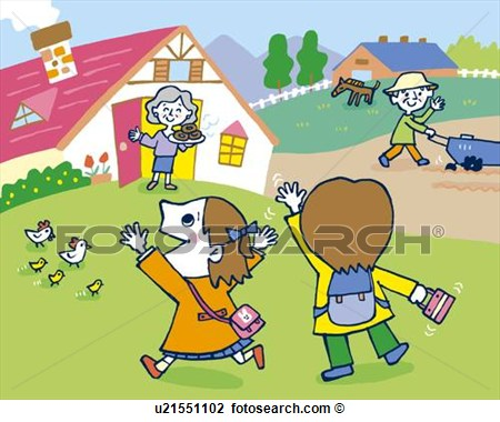 Clip Art Of Children Coming Home Painting Illustration Illustrative