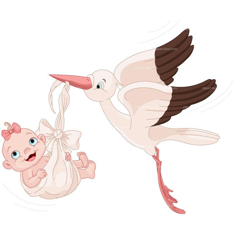 Clipart Stork Delivery Baby Girl   Royalty Free Vector Design