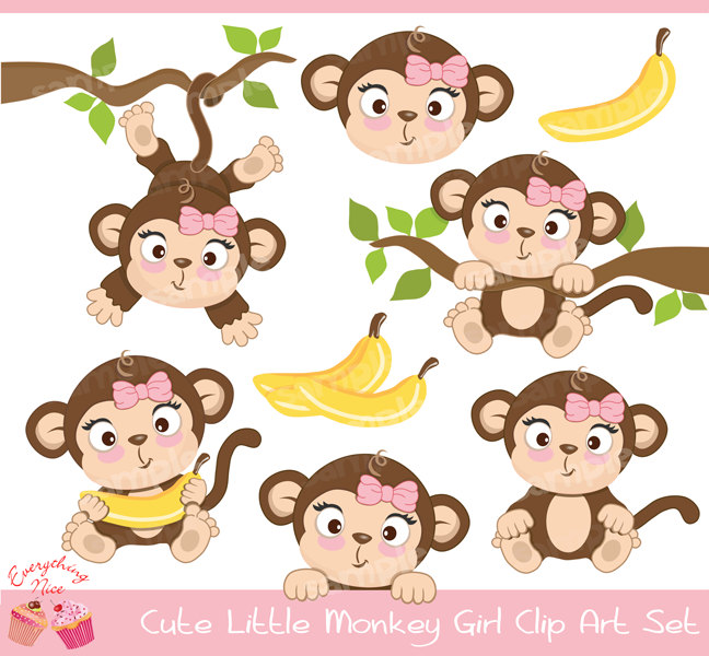 Cute Little Monkey Girl Clipart Set By 1everythingnice On Etsy