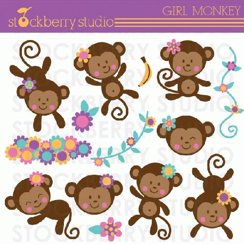 My Grafico Girl Monkey Clipart Adorable Monkey Girls Back Home