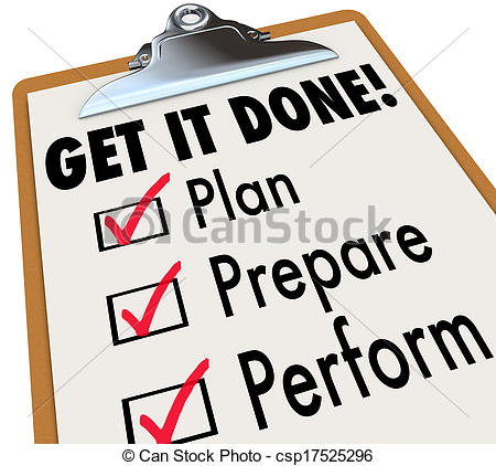 Of Get It Done Clipboard Checklist Plan Prepare Perform   Get