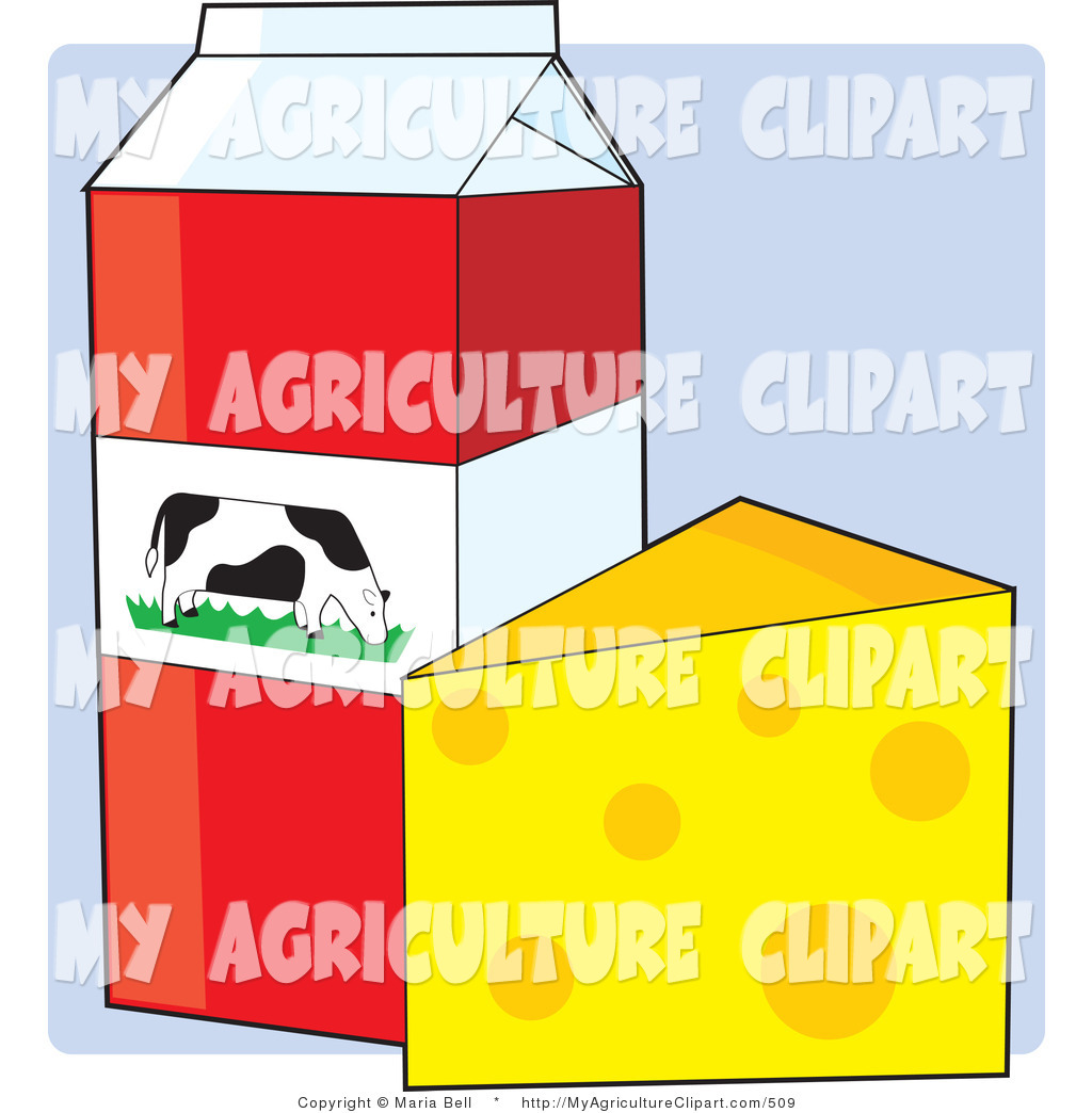 Agriculture Clipart Of A Red And White Carton Of Milk With A Dairy