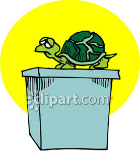 Cartoon Turtle On A Table   Royalty Free Clipart Picture