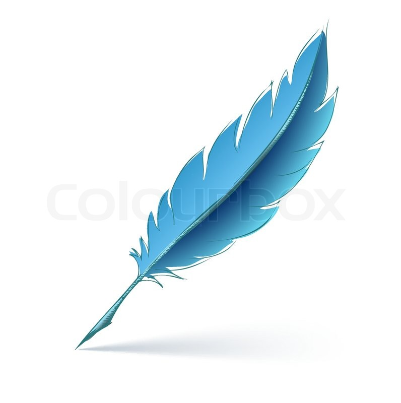 Feather Pen Vector Blue Feather Pen Eps10 Vector