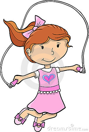 Jump Rope Clip Art  Jump Rope Girl Vector