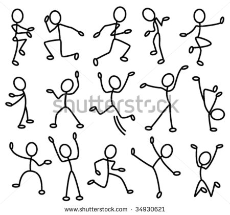 The Stylized Contours Of People In Movement  Part 1   Stock Vector