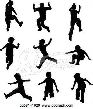 Vector Art   Silhouettes Of Children Jumping   Vector  Clipart Drawing