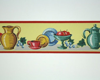 Border   Trimz   Yellow And Red Kitchen Border Fruit And Dishes Still
