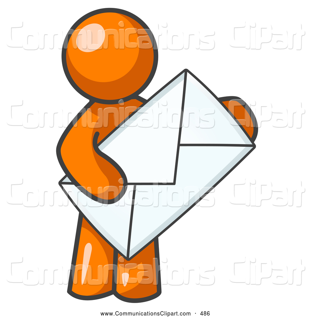 Communication Clipart Of A Average Office Worker Orange Person