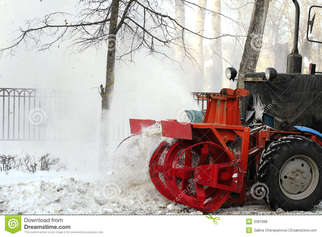 Red Snow Plow Throwing Snow To One Side  Winter Rural Area