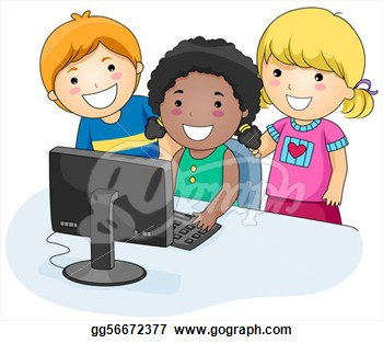 Small Group Of Kids Using A Computer  Clipart Illustrations Gg56672377
