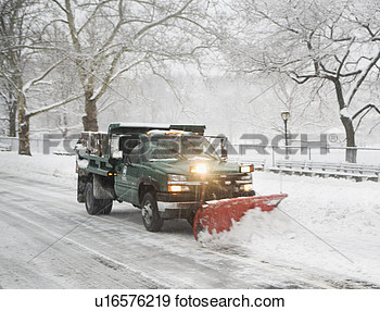 Snow Plow Truck Clearing Road View Large Photo Image