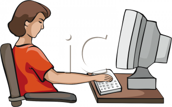 Teenage Girl Working On Computer   Royalty Free Clipart Image